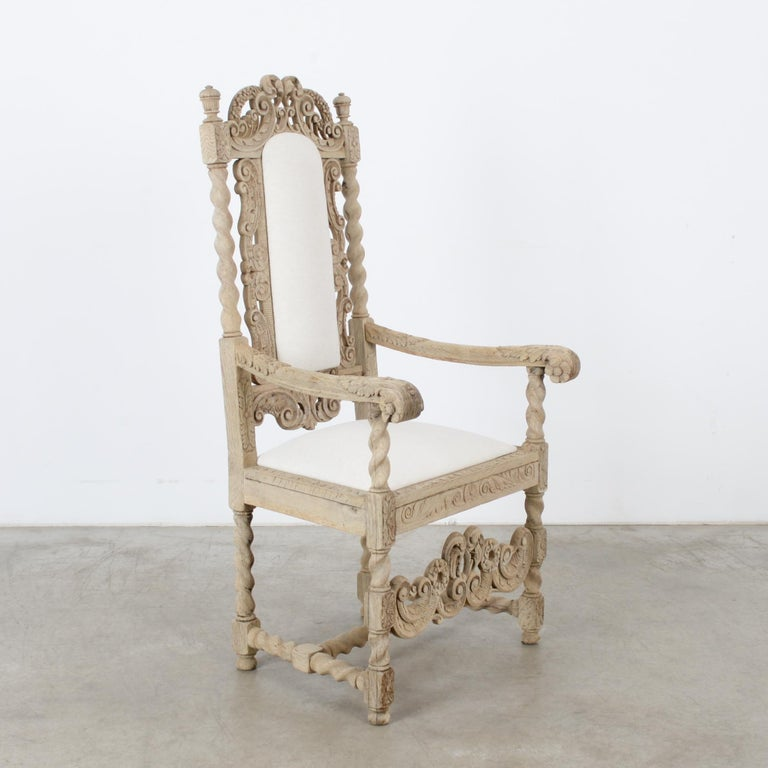 French Provincial Late 19th Century French Ornate Oak Armchair For Sale