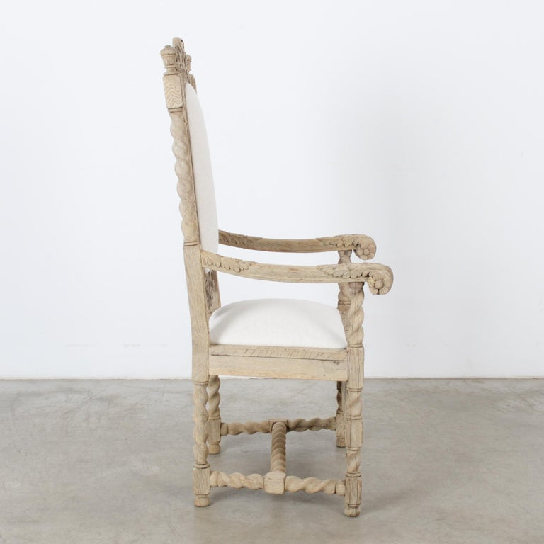 Bleached Late 19th Century French Ornate Oak Armchair For Sale
