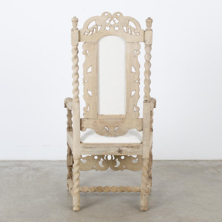 Late 19th Century French Ornate Oak Armchair In Good Condition For Sale In High Point, NC