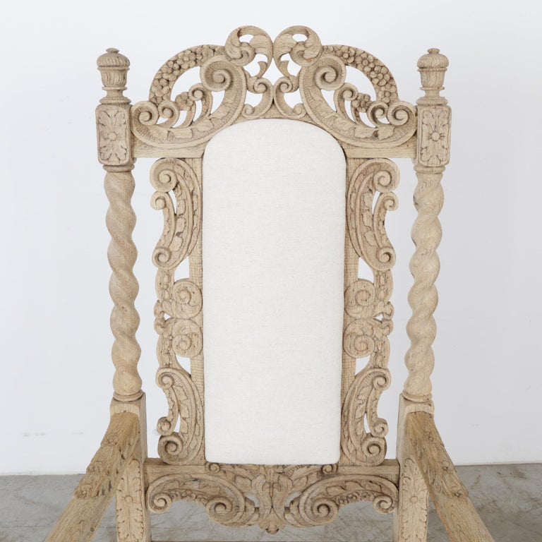 Fabric Late 19th Century French Ornate Oak Armchair For Sale