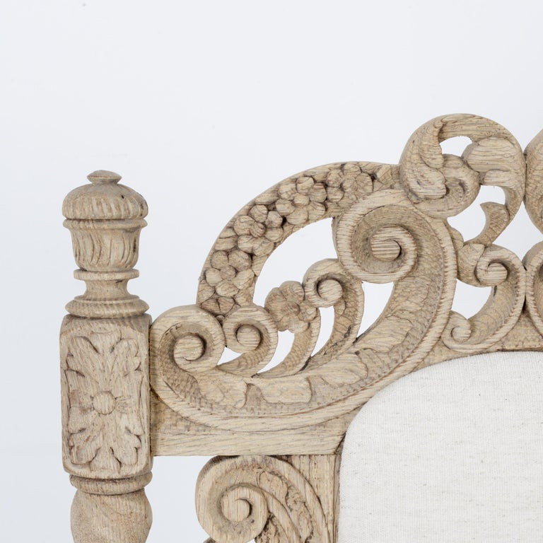 Late 19th Century French Ornate Oak Armchair For Sale 1