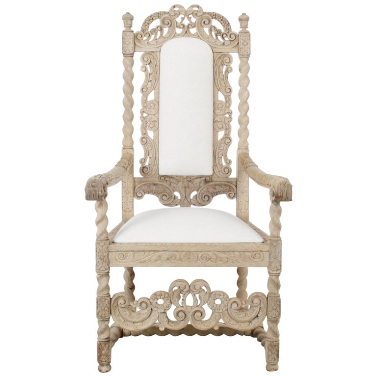 Late 19th Century French Ornate Oak Armchair For Sale
