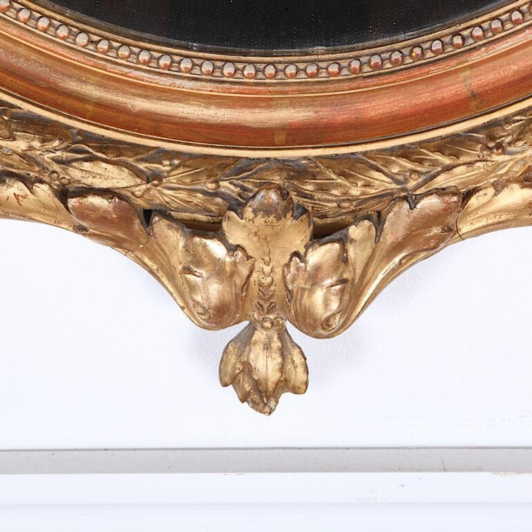 Late 19th Century French Oval Gilt Framed Louis XVI Mirror For Sale 1