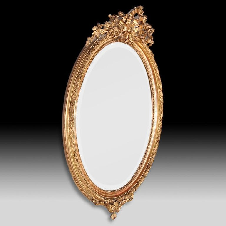 Late 19th Century French Oval Gilt Framed Louis XVI Mirror For Sale 2