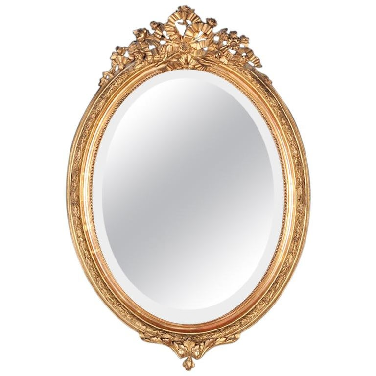 Late 19th Century French Oval Gilt Framed Louis XVI Mirror For Sale