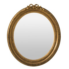 Late 19th Century French Oval Gilt Mirror