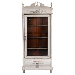 Late 19th Century French Painted Pale Grey Pitch Pine Glazed Linen Press Armoire