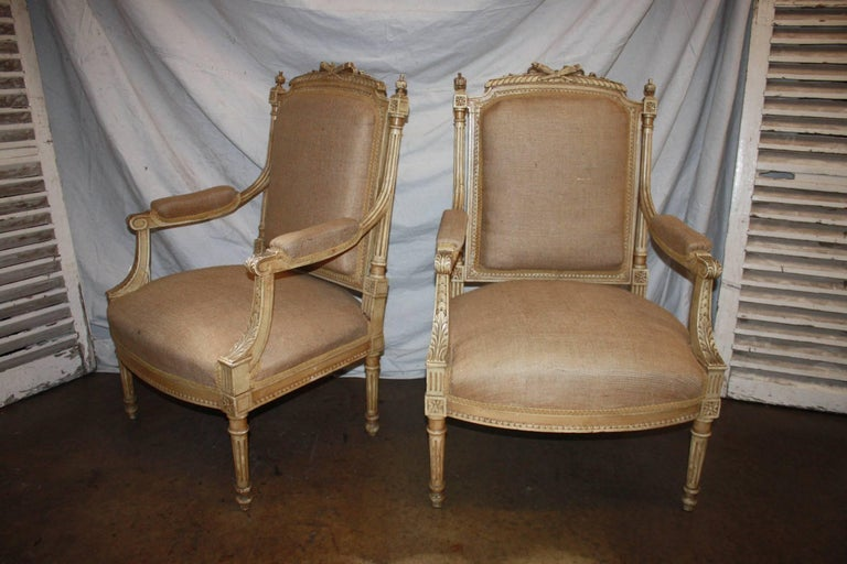 Late 19th century French pair of armchairs.