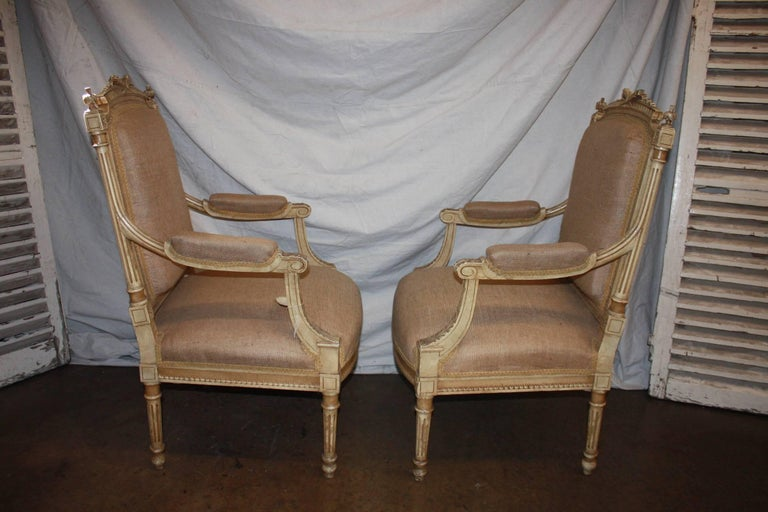 Lacquered Late 19th Century French Pair of Armchairs For Sale