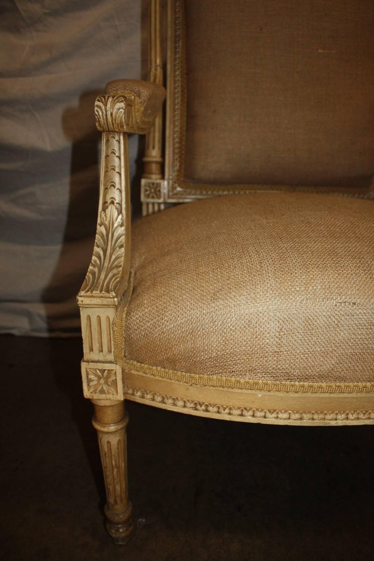 Burlap Late 19th Century French Pair of Armchairs For Sale