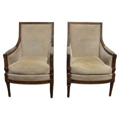 Late 19th Century French Pair of Bergere Chairs