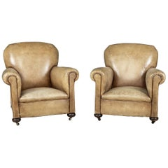 Late 19th Century French Pair of Leather Club Chairs