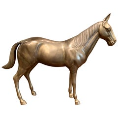 Late 19th Century French Patinated Brass Horse Sculpture