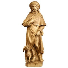 Late 19th Century French Patinated Terracotta Shepherd and Dog Sculpture