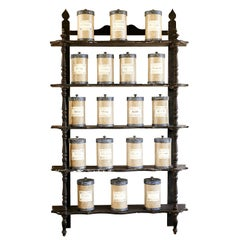 Late 19th Century French Pharmacy Wall Shelf in Brown Painted Wood