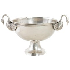 Late 19th Century French Restauration Style Silver Plate Ice Bucket with Swans