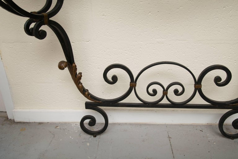Late 19th Century French Rococo Revival Iron Console with Marble Top For Sale 12