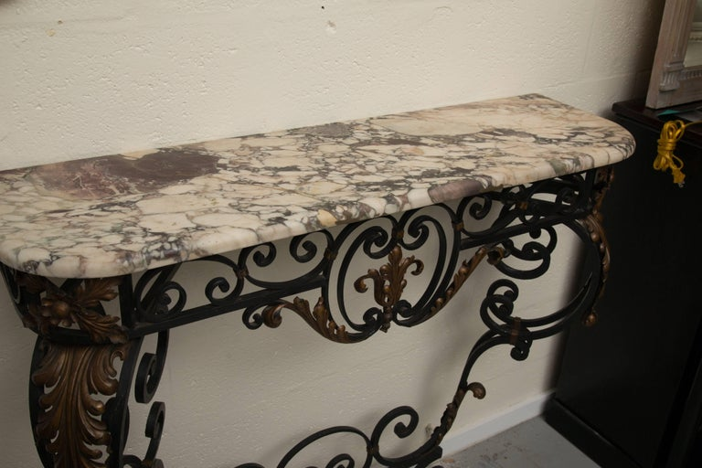 Late 19th Century French Rococo Revival Iron Console with Marble Top For Sale 14