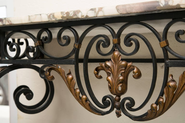 Late 19th Century French Rococo Revival Iron Console with Marble Top In Good Condition For Sale In WEST PALM BEACH, FL
