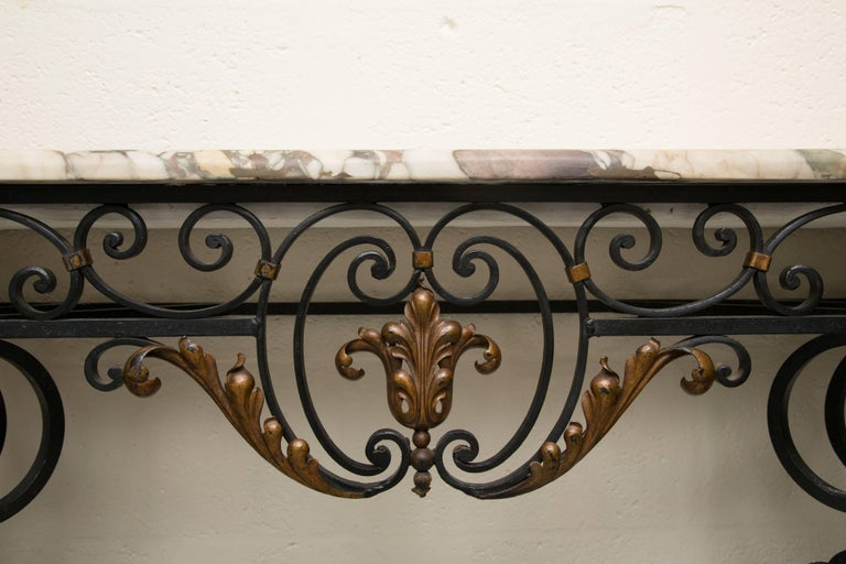 Late 19th Century French Rococo Revival Iron Console with Marble Top For Sale 4