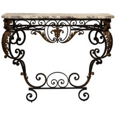 Late 19th Century French Rococo Revival Iron Console with Marble Top