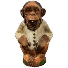 Late 19th Century French Saint Clement Painted Ceramic Barbotine Monkey Pitcher