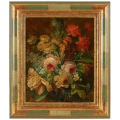 Late 19th Century French School Painting of Flowers, Oil on Canvas