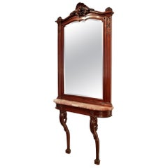 Late 19th Century French Solid Mahogany Louis XVI St. Console and Mirror Suite