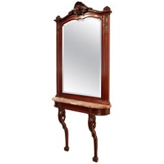 Late 19th Century French Solid Mahogany Louis XVI Style Console and Mirror Suite