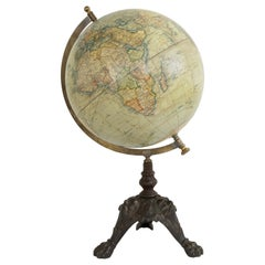 Late 19th Century French Terrestrial Globe on Cast Iron Base by Jules Lebegue