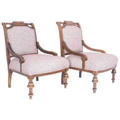 Late 19th Century French Upholstered Armchairs, a Pair