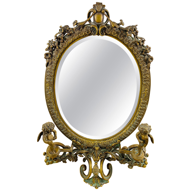 Late 19th Century French Vanity Bronze Mirror