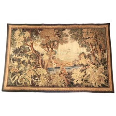 Late 19th Century French Verdure Aubusson Tapestry with Birds, Trees and Stream
