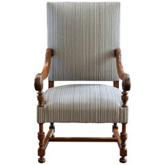 Late 19th Century French Walnut Armchair Black and White Stripes Fabric
