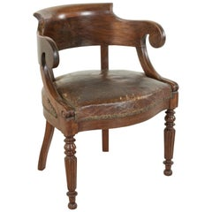Late 19th Century French Walnut Armchair or Desk Chair with Leather Seat