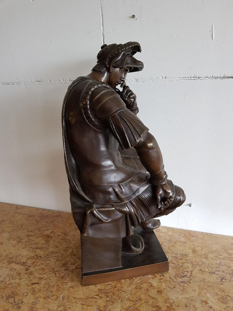 Late 19th Century German Bronze Statue of Lorenzo de Medici after Michelangelo For Sale 6