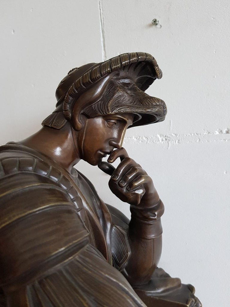 Late 19th Century German Bronze Statue of Lorenzo de Medici after Michelangelo For Sale 7