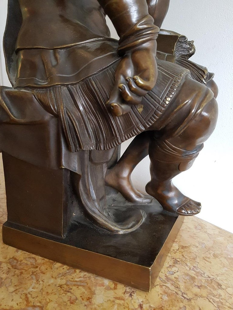 Late 19th Century German Bronze Statue of Lorenzo de Medici after Michelangelo For Sale 8