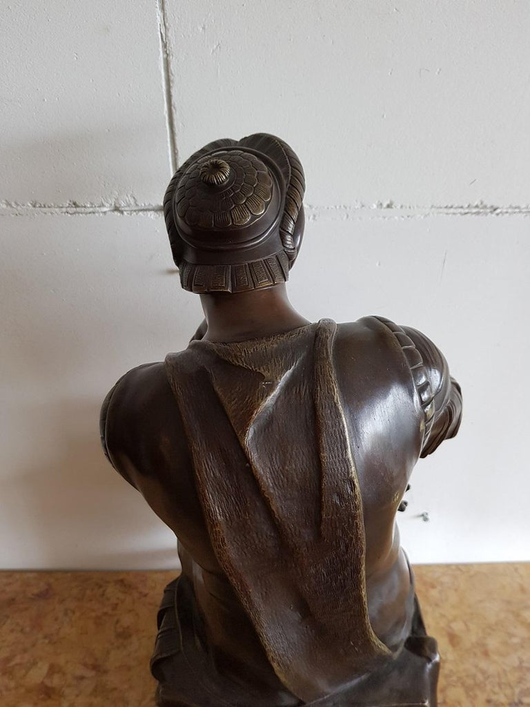 Late 19th Century German Bronze Statue of Lorenzo de Medici after Michelangelo For Sale 5
