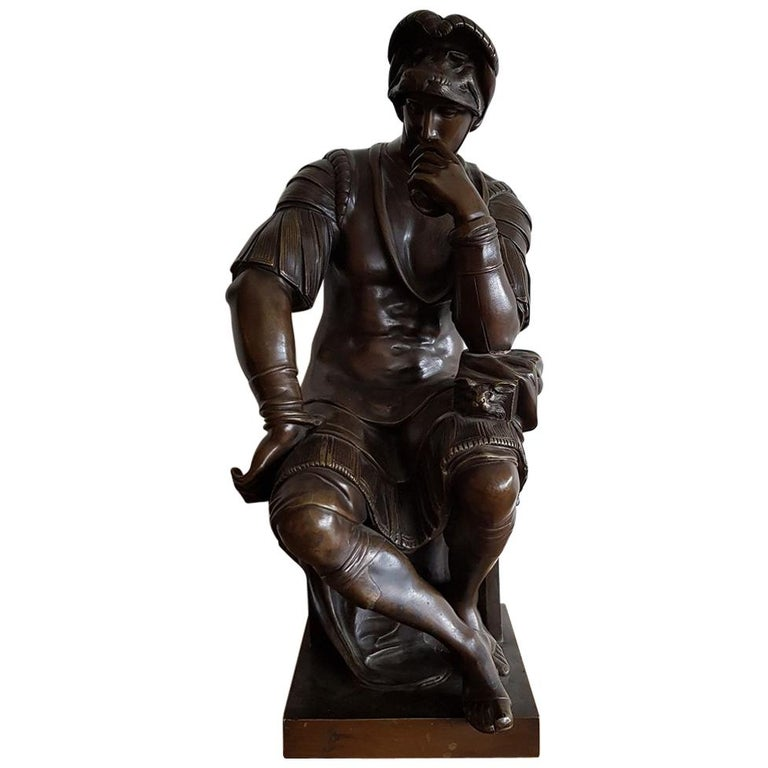 Late 19th Century German Bronze Statue of Lorenzo de Medici after Michelangelo For Sale