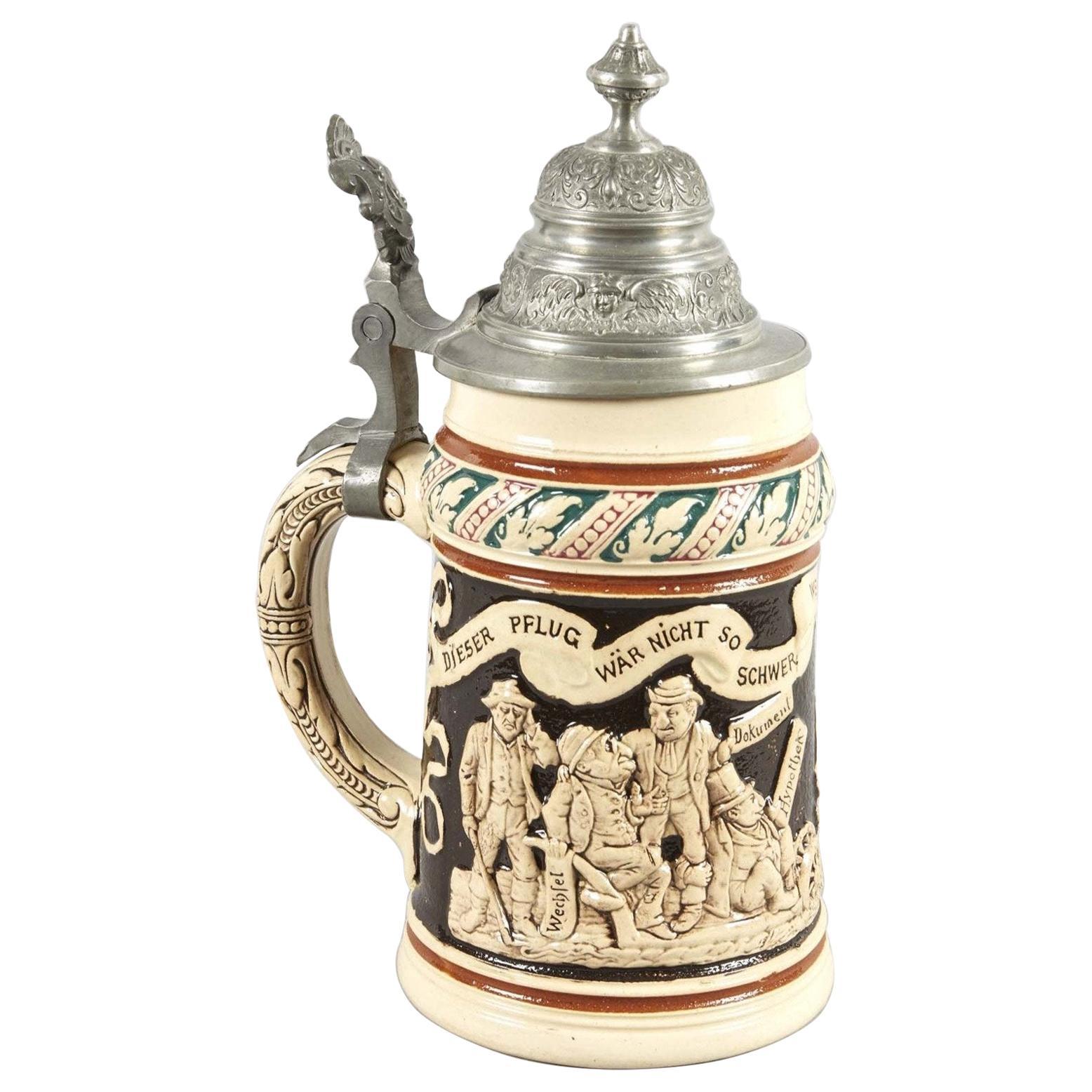 Late 19th Century German Ceramic Beer Stein