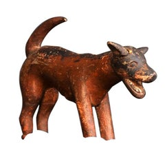 Late 19th Century German Naive Folk Art Hand Carved Figure of a Dog