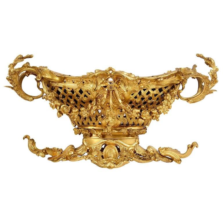 Late 19th Century Gilded Ormolu Centre Piece For Sale