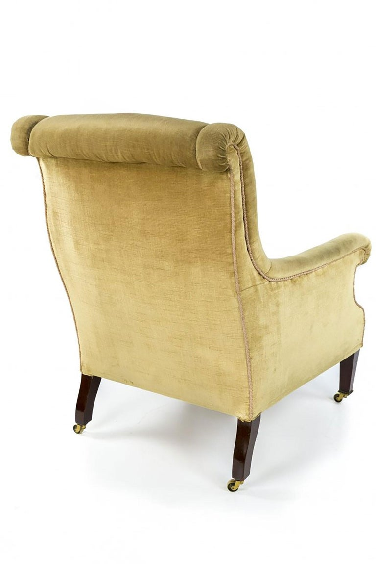 British Late 19th Century Gillows of Lancaster Mahogany and Upholstered Library Chair For Sale
