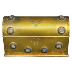 Late 19th Century Gilt Bronze and Wedgwood Style Porcelain Etched Jewelry Box