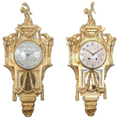 Late 19th Century Gilt Bronze Cartel Clock and Companion Barometer by Henry Vian