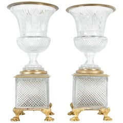 Late 19th Century Gilt Bronze / Cut Glass Vases / Centerpieces