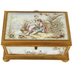 Late 19th Century Gilt Bronze Enameled Jewelry Casket Box Sevres Style