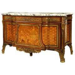 Late 19th Century Gilt Bronze Marquetry Parquetry Commode after J H Riesner