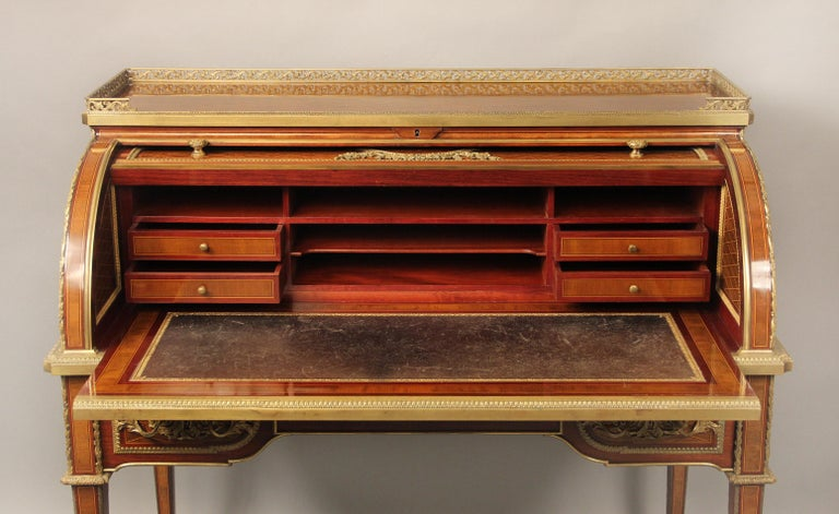 French Late 19th Century Gilt Bronze Mounted Bureau a Cylindre by François Linke For Sale